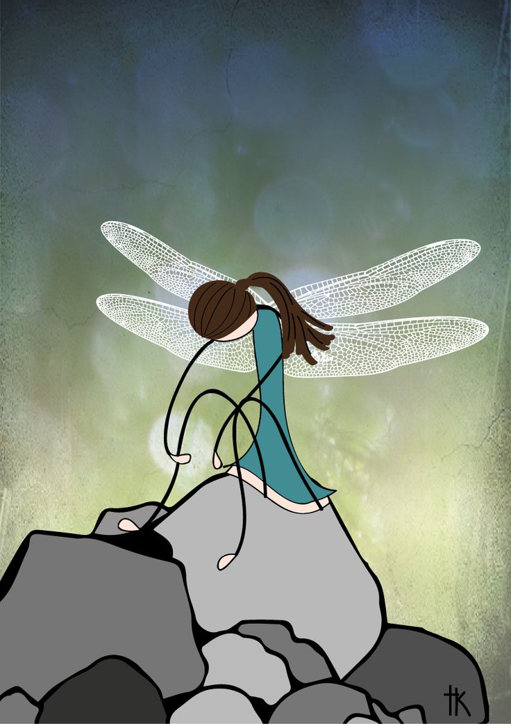 """Exhausted dragonfly"" Illustration: © Trine Kvalnes"