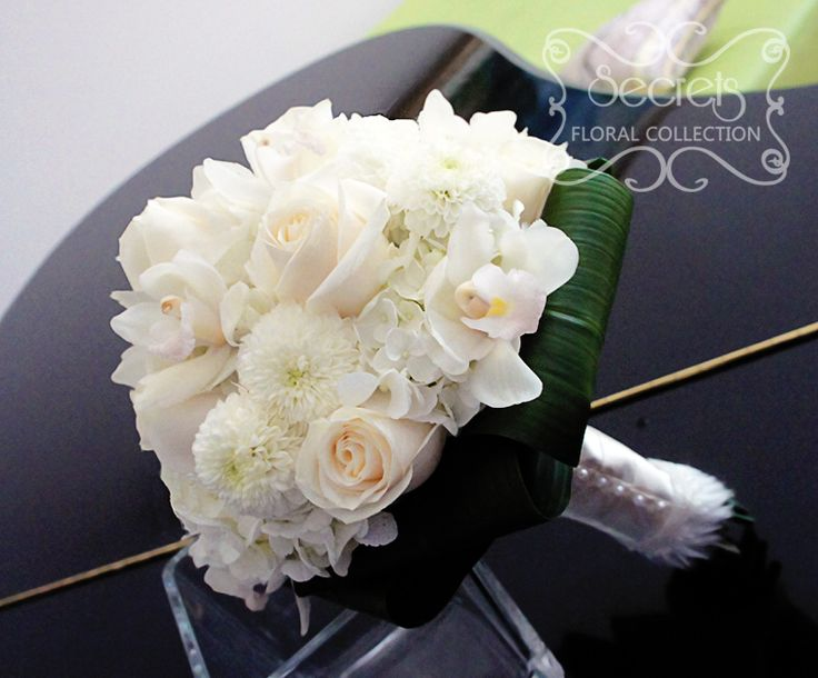 roses, white ice cap button mums, and cream hydrangea bridal bouquet ...
