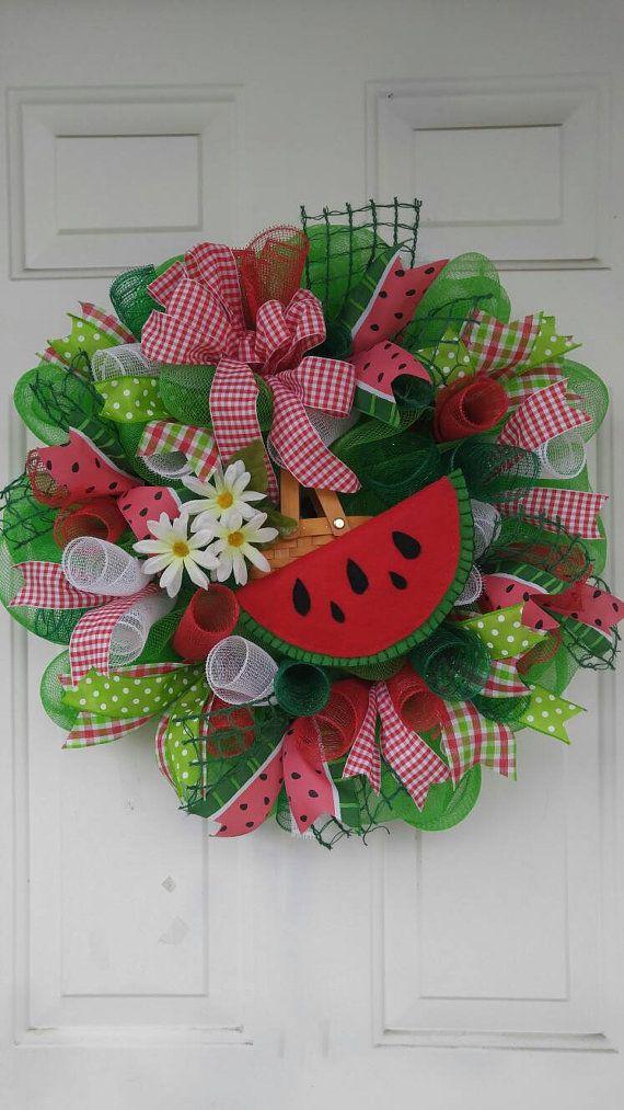 Watermelon wreath watermelon mesh wreath by WreathDesignsByLinda