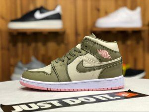 Air jordan retro 1 mid Olive green light yellow pink 555112-225 Womens  Sneakers 863403bae