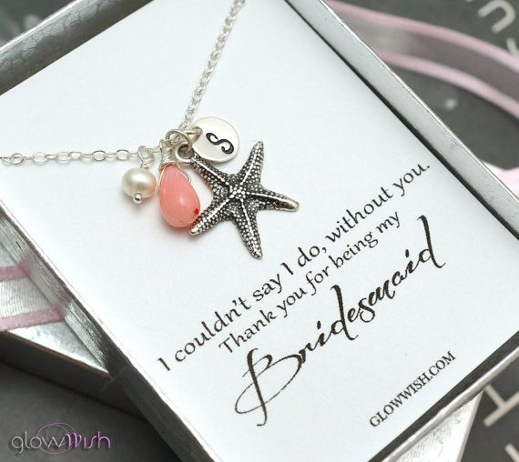 Bridesmaid Gifts Beach Wedding Jewelry Coral Pendant Starfish Necklace Message Cards Thank You Gifts For Bridesmaids I Do Beach Wedding Ideas