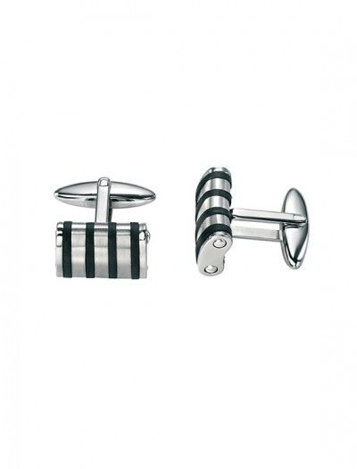 Men's Stainless Steel Striped Cufflinks - Available at Onyx Goldsmiths