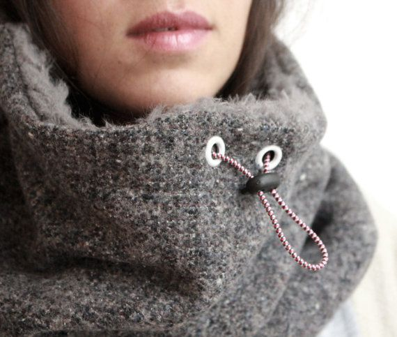 This super warm and cozy circle scarf, hooded cowl or cowl scarf is designed for the coldest of winters. The outer shell of this circle scaf is made from