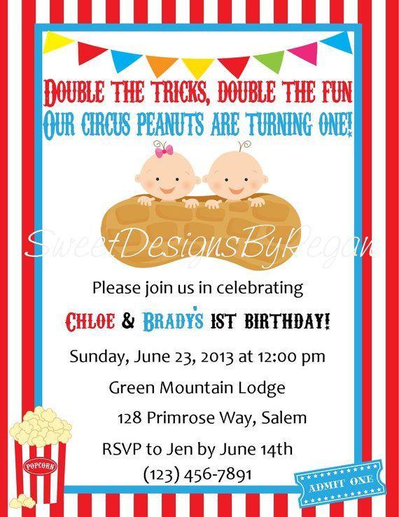 Zirkus Geburtstags Einladung Digitale Datei Zwillings Zirkus