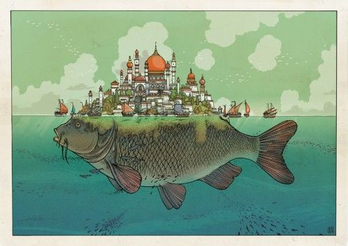 Illustrations of Imaginary Worlds and Fictitious Scenarios by Jared Muralt