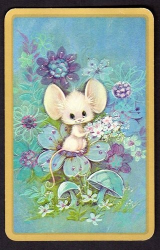 Cute Mouse with Flowers and mushrooms