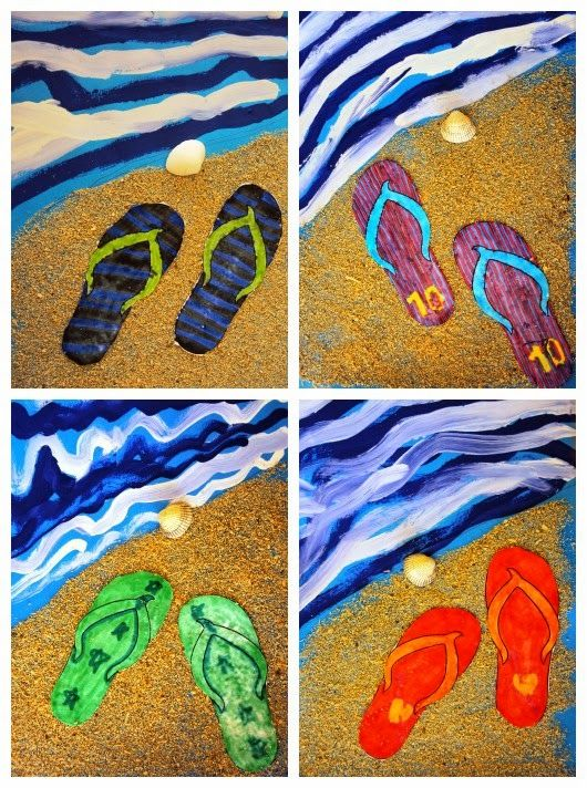 "End of year ""summer"" project. Textured sand, value water, warm/cool flip-flops"