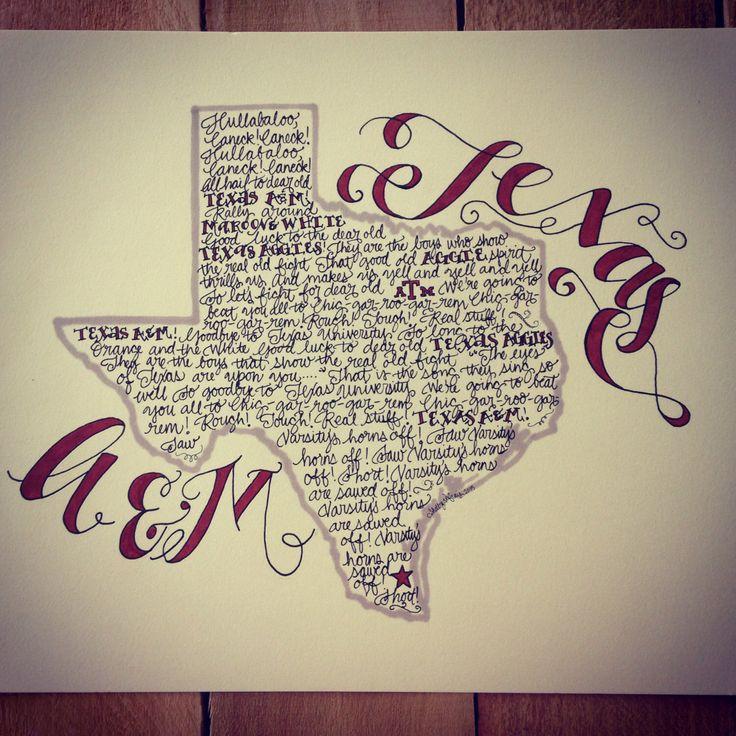 Texas A&M Aggie War Hymn Print - Hand-drawn, Texas Illustration, Texas Map, Aggies by PearlAndRoseDesigns on Etsy https://www.etsy.com/listing/252852040/texas-am-aggie-war-hymn-print-hand-drawn