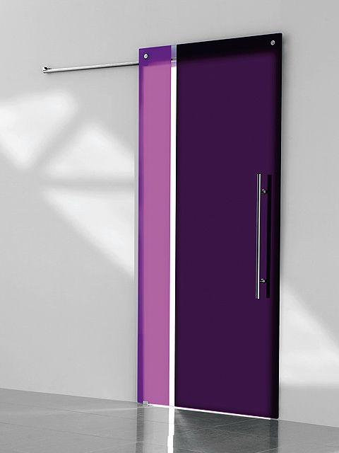Puerta corredera de cristal Casali, modelo SystemZero Bicolor Vertical Grape-Plum de Maydisa