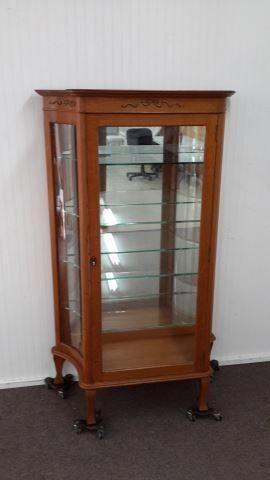 Antique Oak Curio W Glass Shelves Mirror Back Glassshelvesmirror
