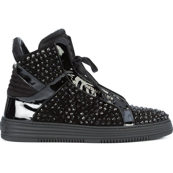 Philipp Plein black stones hi-top sneakers (2,300 CAD) ❤ liked on Polyvore featuring men's fashion, men's shoes, men's sneakers, black, mens black shoes, mens black high top shoes, mens high top sneakers, mens round toe shoes and men's low top sneakers