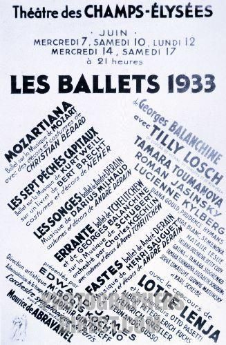 Stock Photography image of Les Ballets 1933 poster , advertising ...