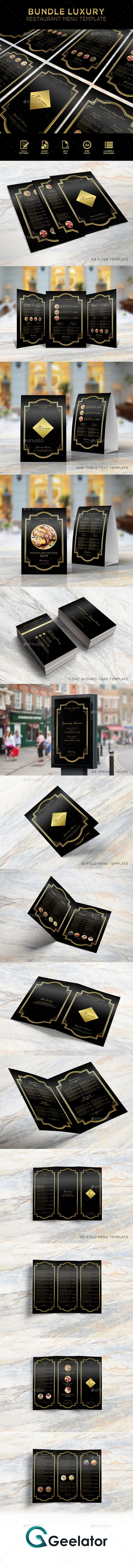 Bundle Luxury Restaurant Menu Template - #bundle #fastfood #streetfood #food #restaurant #delicious #seafood #gourmet  #luxury #menu #foodmenu #brochure #brochuremenu #eat #dinner #breakfast #lunch #menudesign #cafe #pub #bar #restaurantdesign #restaurantmenu #salad #appetizer #baverages #desserts #flyermenu #luxurydesign #cafemenu