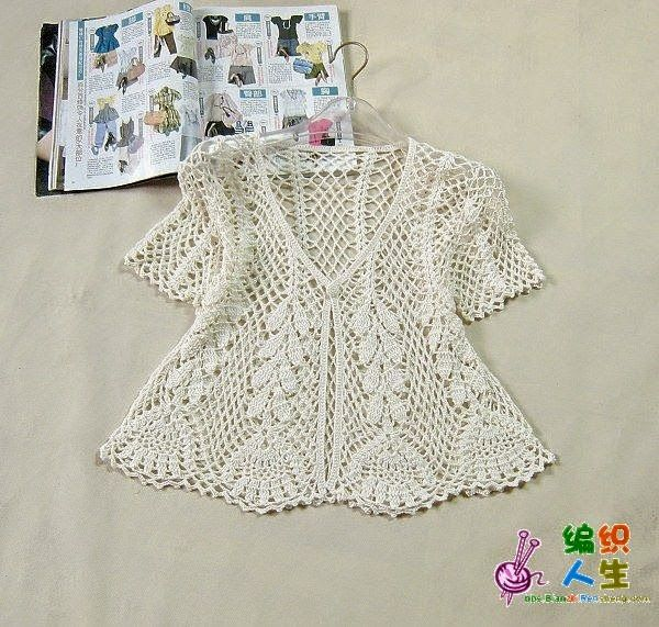 Patterns of delicate openwork crochet blouse - Diagrams at site