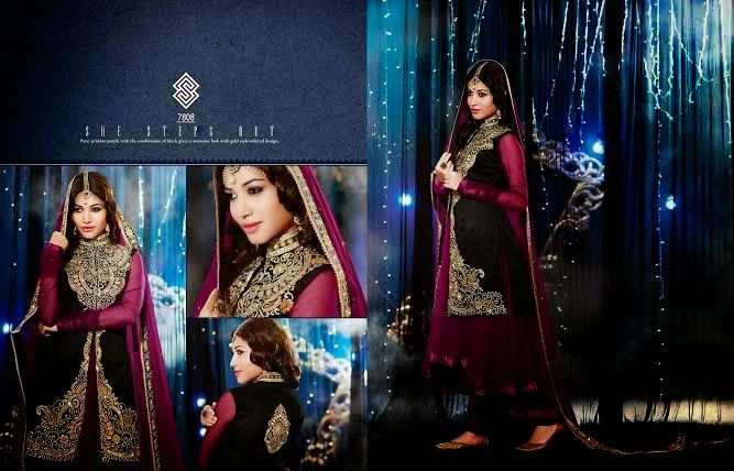 Very Beautifully Designed Net Velvet Floor length Purple Anarkali Black Jacket and With Superb thread Embroidery and Stone work en-crafted. Comes along with Santoon Bottom and inner and Chiffon Duppatta.