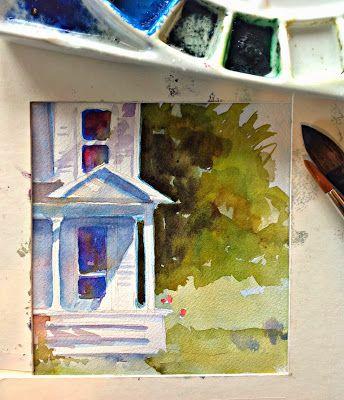 provare a realizzare ad acquerello delle riproduzioni di quadri di Hopper