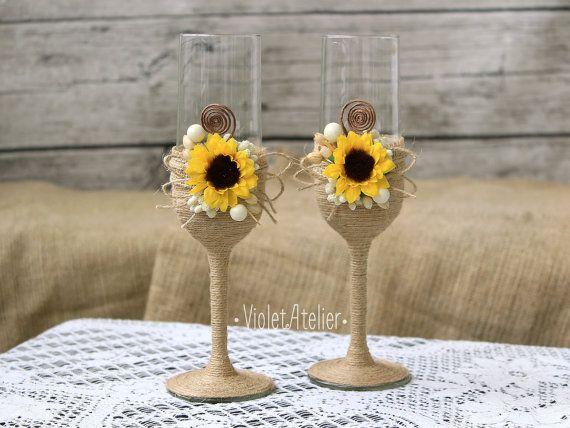 Sunflower Wedding Glasses Set Rustic Toasting Flutes