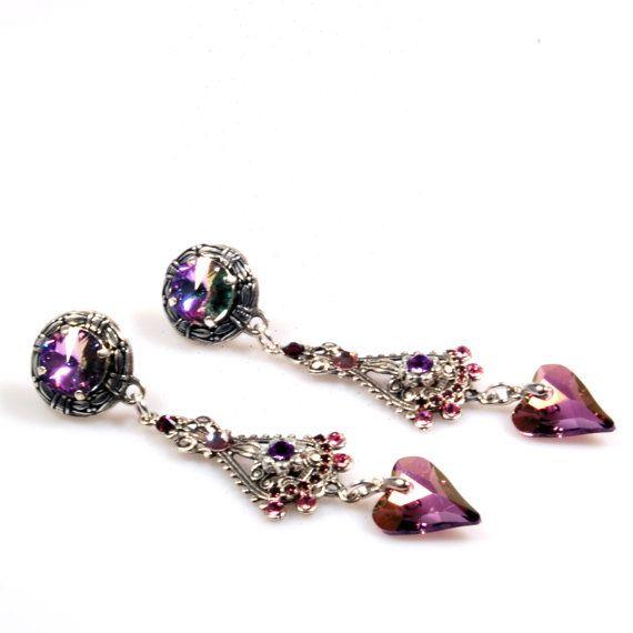 Cadeau voor vrouwen - paarse oorbellen Swarovski - grote oorbellen met hart, clips - gypset stijl, bohemian oorbellen - sieraden handgemaakt