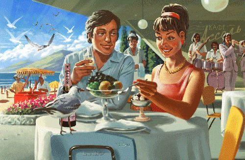Анимация Ретро-открытка свидание в кафе, девушка кормит чайку мороженым, lush@