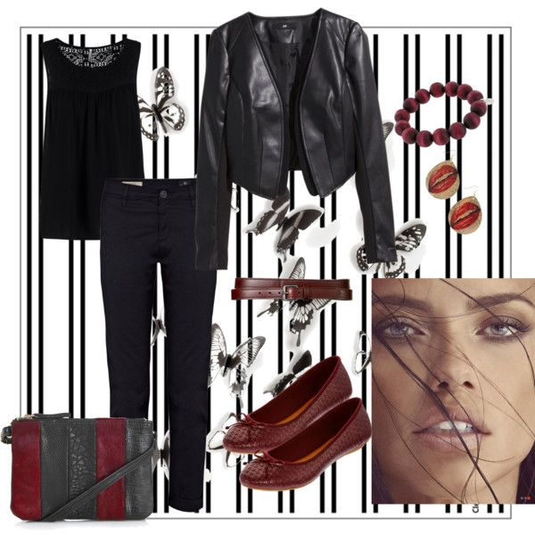 Black work by asya-gorelkina on Polyvore featuring polyvore fashion style Soyaconcept H&M AG Adriano Goldschmied MIA Topshop NLY Accessories Theory Umbra