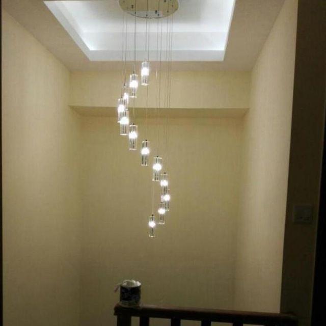 Led Hanging Crystal Chandelier Modern Large Spiral Chandelier