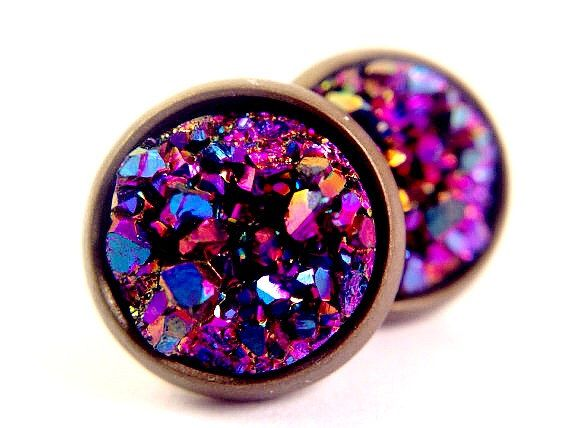 Purple Faux Druzy  Antiqued Bronze Stud Earrings Faux Drusy Jewelry Purple Sparkle Blurple by CultBLACK on Etsy https://www.etsy.com/listing/186763982/purple-faux-druzy-antiqued-bronze-stud