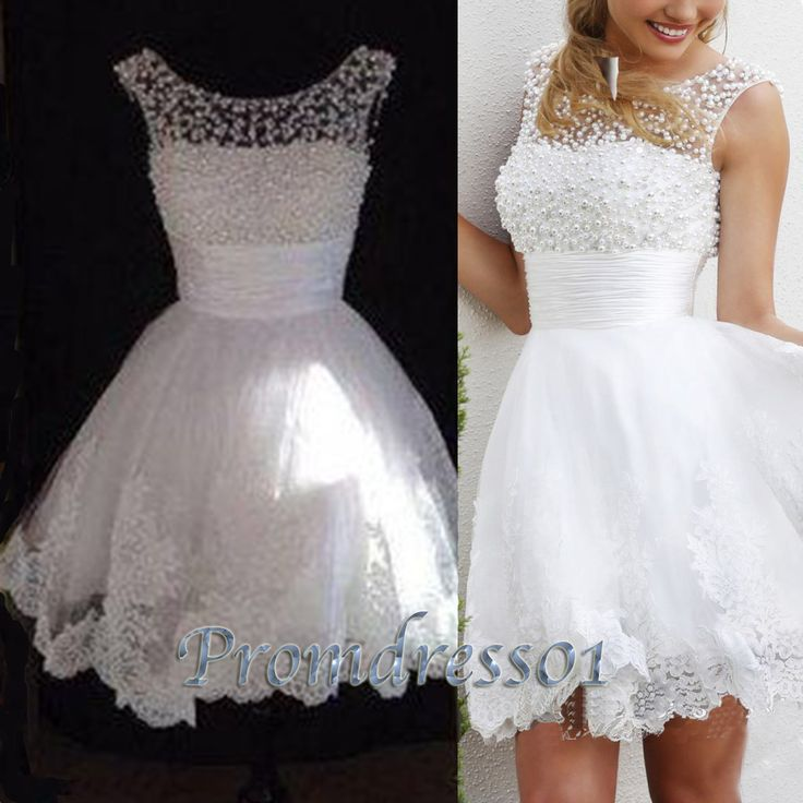 2015 cute white lace modest mini open back short sleeves prom dress for teens, ball gown, bridesmaid dress, evening dress #promdress
