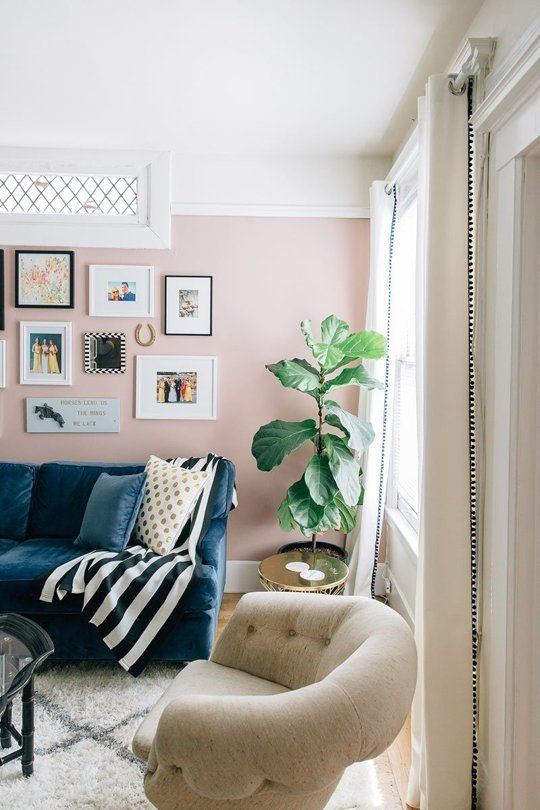 Beau Pale Pink Living Rooms: Successful Style Ideas To Make This Wall Color Work