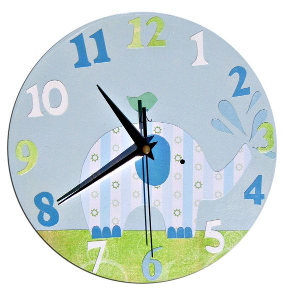 Elephant Clock / Children's wall Clock / Nursery Clock - Blue, Pink by withhugsandkisses. Explore more products on http://withhugsandkisses.etsy.com