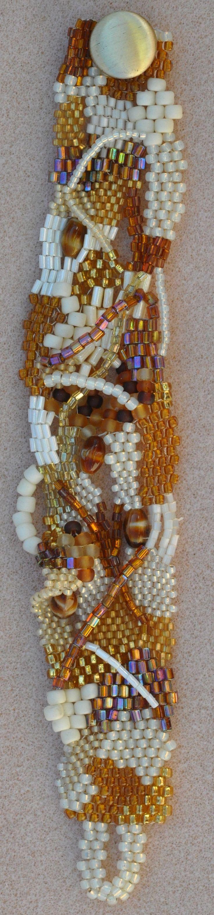 Hand Made Biege Freeform Peyote Beaded Bracelet