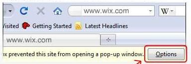 Disabling Your Pop Up Blocker | Wix html5 Learning Center clear browser cache
