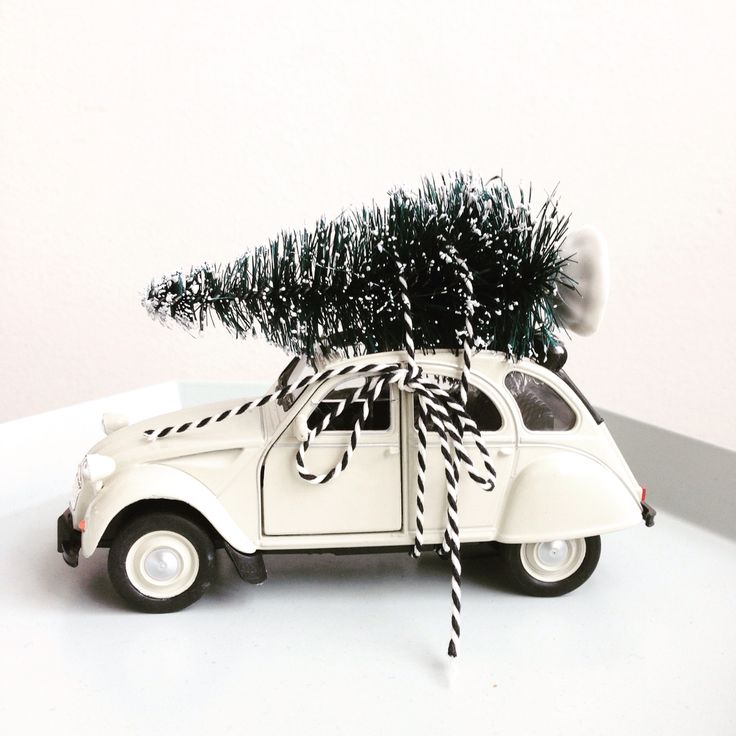 2cv with Christmas tree on the roof: Xmas DIY! Cute little white car. Auto met kerstboom.