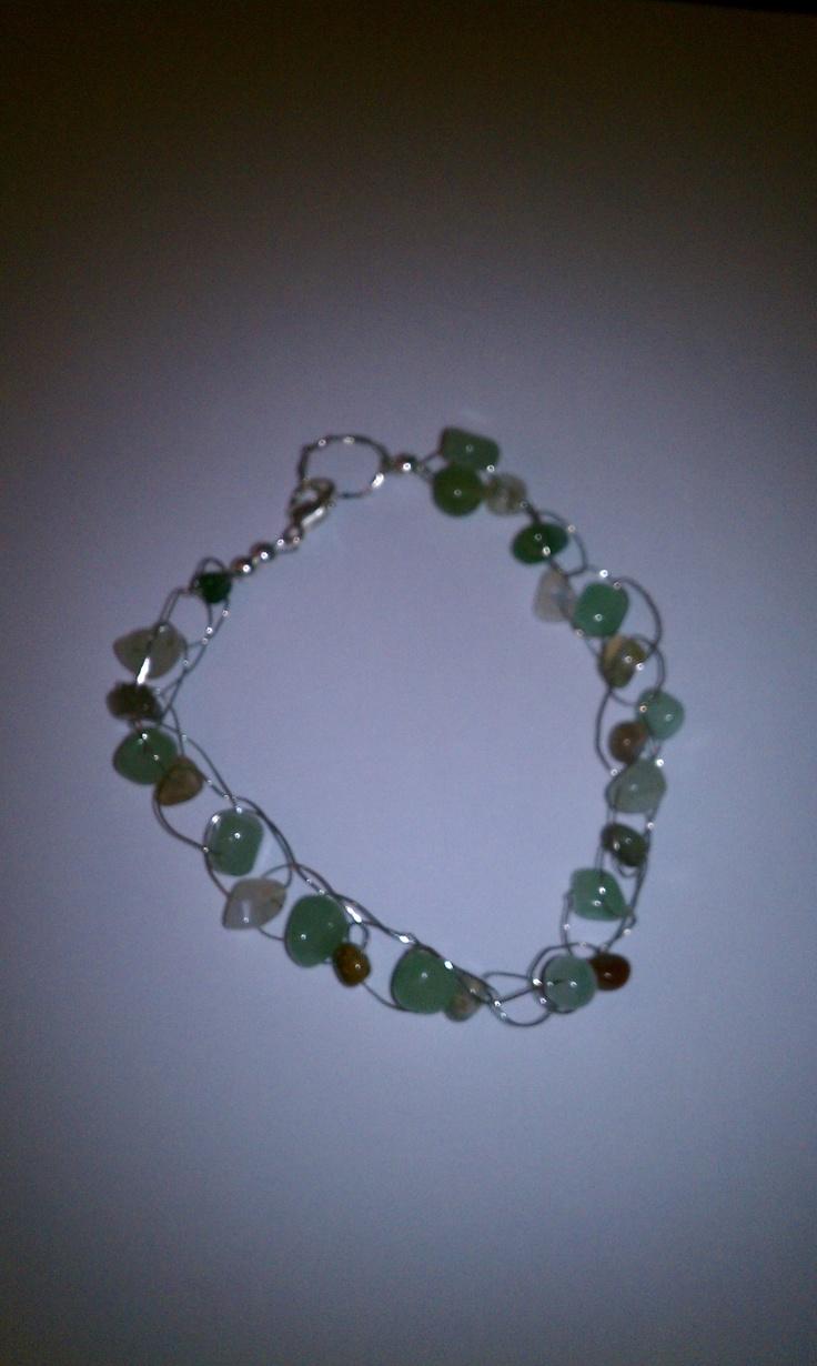 My first bracelet - crochet beading wire w/semi-precious stones: W Semi Preci Stones, Crochet Beads, Beads Wire, Wire W Semi Preci, Wsemipreci Stones