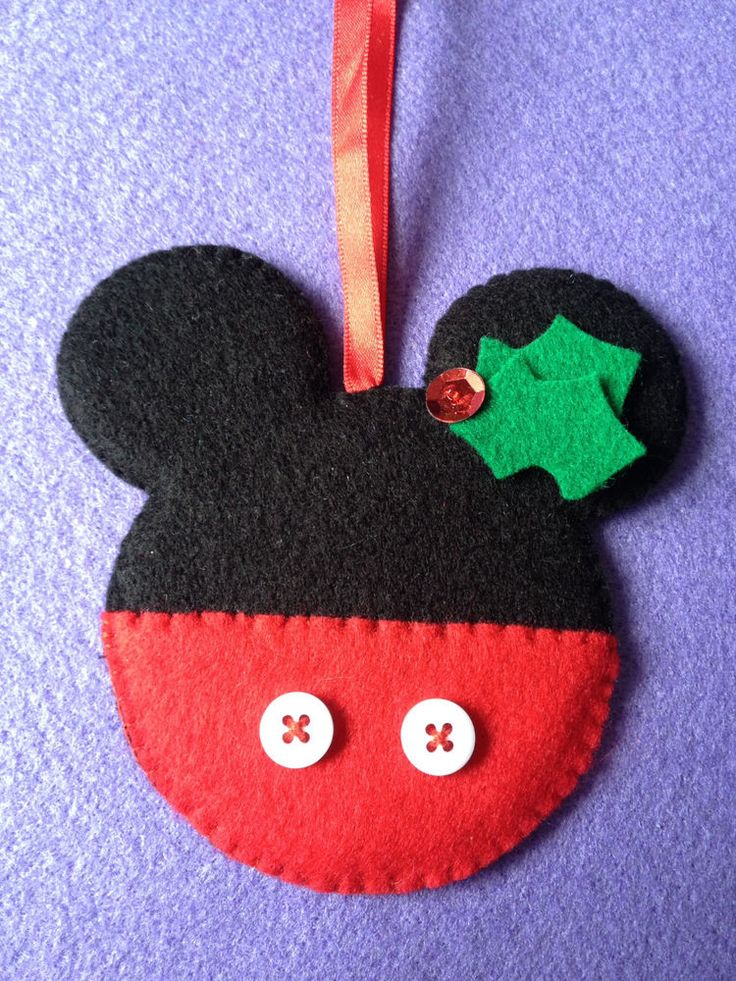 "New Handmade ""Shabby Chic"" Felt Christmas Tree Decorations - Mickey mouse kitsch cute disney cartoon christmas tree decoration design"