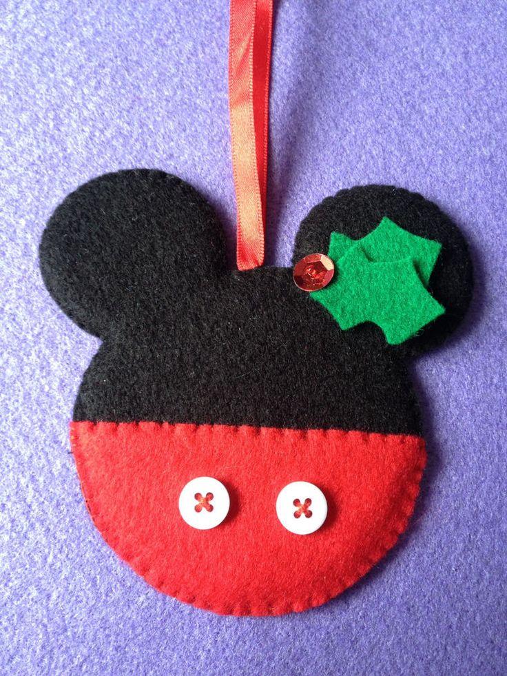 "New Handmade ""Shabby Chic"" Felt Christmas Tree Decorations - Mickey mouse kitsch cute disney cartoon christmas tree decoration design"