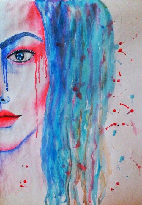 Feeling blue #watercolor #art #portrait