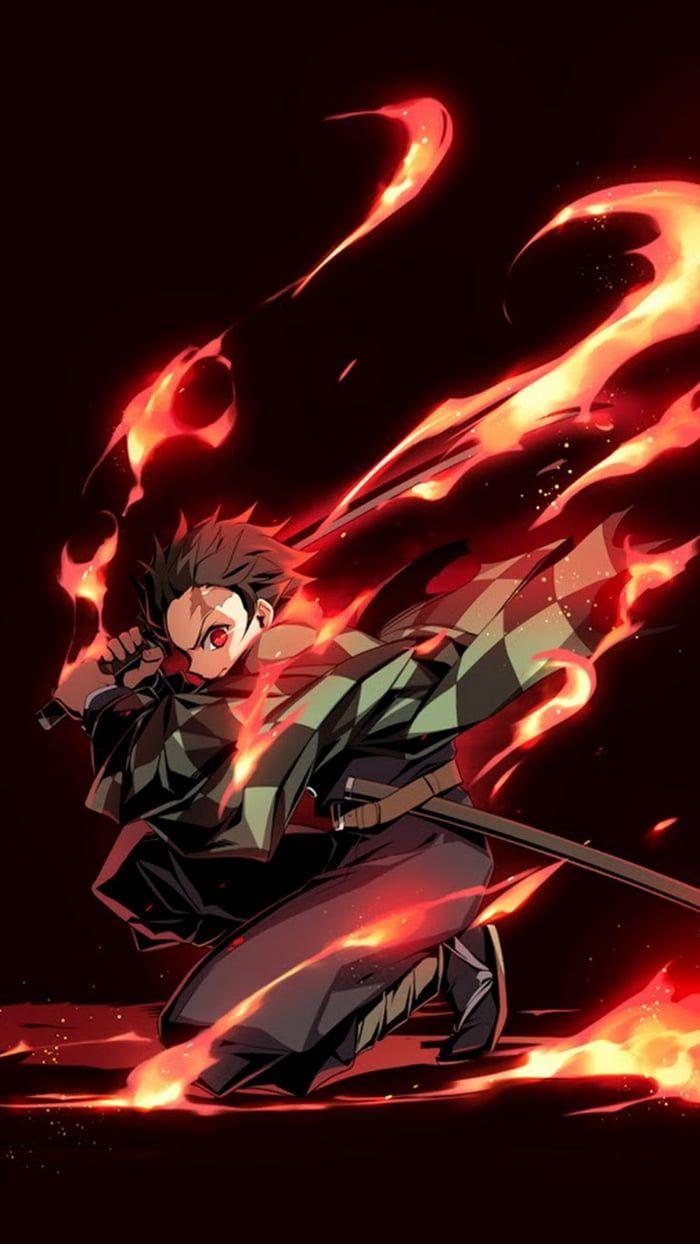 Kamado Tanjirou Dance Of The Fire God Fanart Seni Anime Seni Jepang