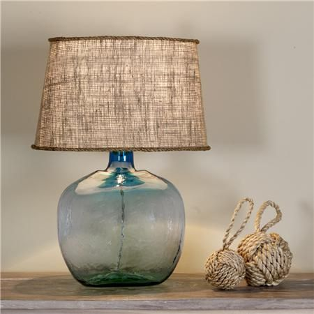 Burlap shades in every size and color from Shades of Light. and also this recycled glass table lamp in 9 colors!