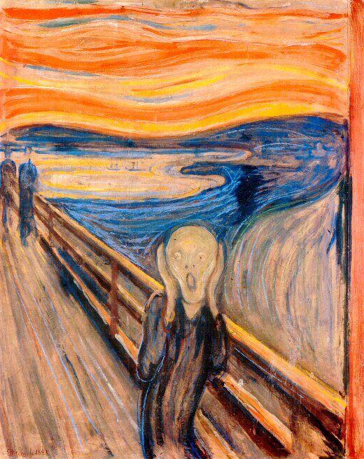 Título: El grito Autor: Munch. Estilo: Vanguardias, Expresionismo. Fecha: 1893 Justificación de la elección. Son varias las versiones de este cuadro, y en todas se retrata el sentimiento de angustia y desesperación a través del personaje que observamos. Dicho sentimiento no solo lo transmite el gesto de la figura central, sino los colores empleados en ella, el trazo, y la forma de las lineas.