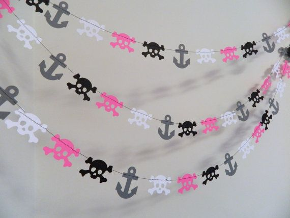 Paper Garlands / Girls Pirate Party Decorations / Mini Pirate Garland/ Skulls and Anchors Garland/ Pirate Birthday Decorations/ Pirate Party