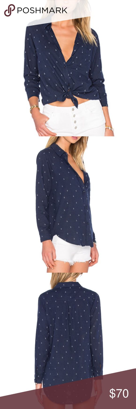 NWT Sold Out Rails Anchor Shirt The NWT Rails anchor shirt is adorable! Amazing material, navy blue with cute tiny white anchor details.  Looks great with jeans or tied up with shorts. Sold out on Revolve. ⚓️ Rails Tops Button Down Shirts