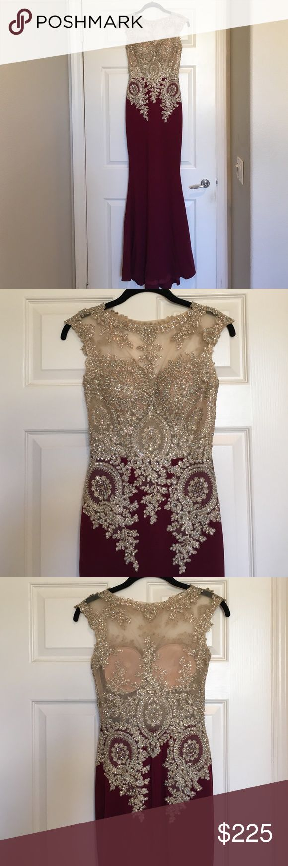 """Maroon and gold prom/formal dress Worn just once, condition is like new. The fit is fitted and bottom goes out in mermaid like style. This was altered already. I am a size xs/s, 5'4"""" and I wore 4-5 inch heels. Dresses Prom"""