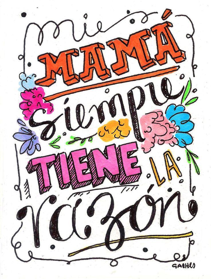 ¡FELIZ DIA MAMÁ! Mi mamá siempre tiene la razón.  Postales para regalarle a mamí en este día tan especial, hechas por el puño de nuestra ilustradora favorita: @gabiabi_ #Follow