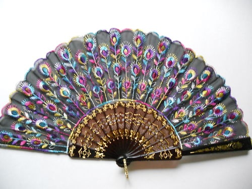 lace fan chinese costume gold inlay black multi color rainbow art decoration style fashion