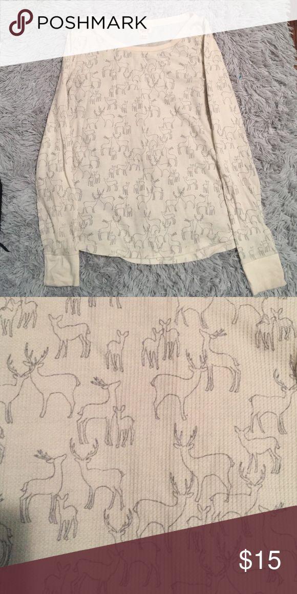 Deer print long sleeve top Deer printed beige long sleeve shirt Mossimo Supply Co Tops Tees - Long Sleeve