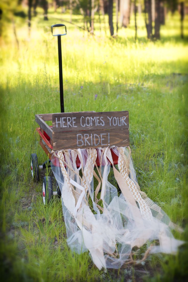 Wedding photography, here comes the bride, sign, wagon, ring bearer, country