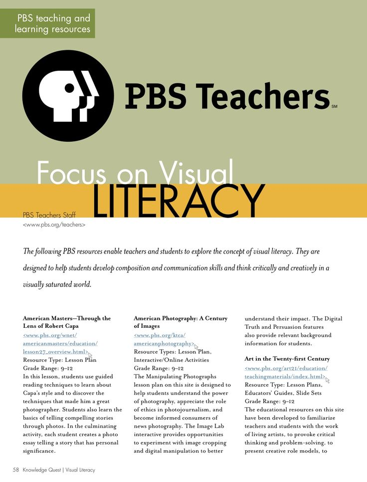 Resource: Lesson plans by PBS Teachers for guiding teaching and learning of visual literacy.