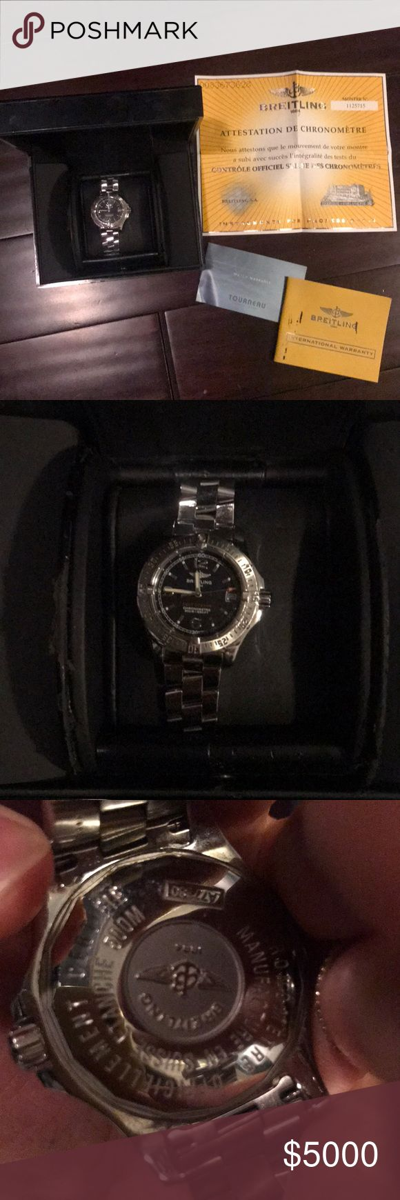 Brietling watch Used a handful of times, with box and original papers/warranty papers. 100% authentic!  Hasn't been serviced in a while. Took out some links but cant find them. Watch still in very good condition. Breitling Accessories Watches