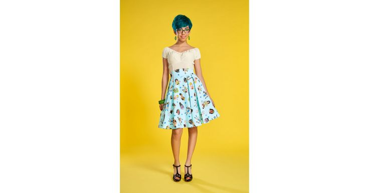Laura Byrnes Little Jun Skirt in Lady Wrestlers Print | Retro Style Pleated Skirt | Pinup Girl Clothing