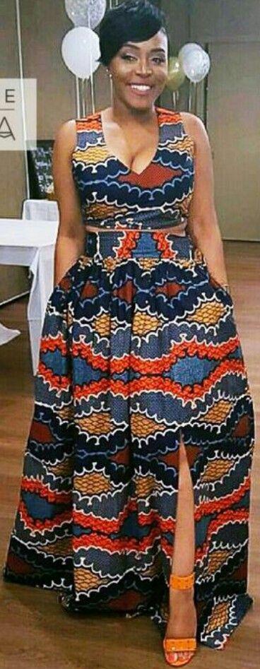 ♡stylemeankara :: Our client Tanisha rocking her custom made two-piece set at her bridal shower ~African fashion, Ankara, kitenge,